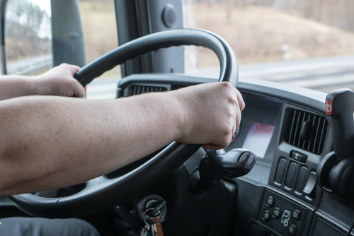 Truck driver holding steering wheel